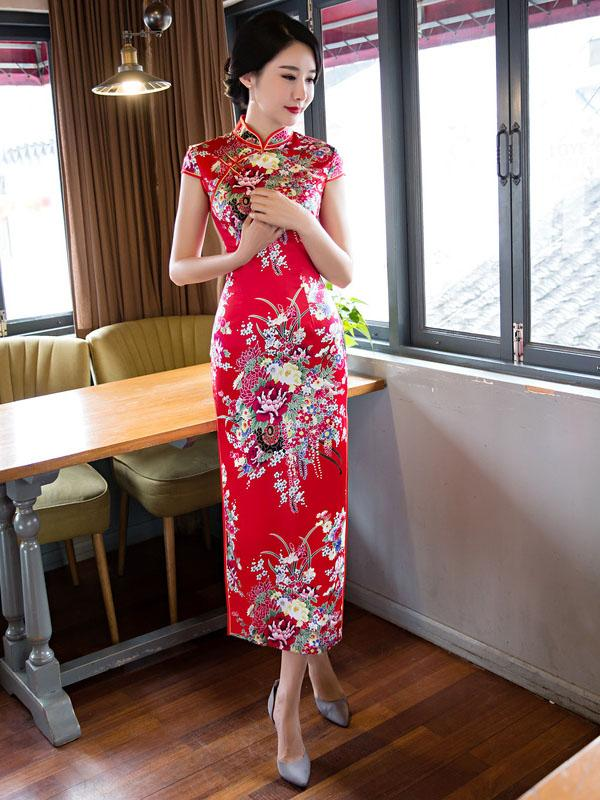 Blue&Red Floral Stand-collar Long Cheongsam