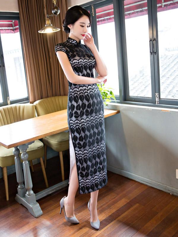 Black Lace Split-side Long Cheongsam