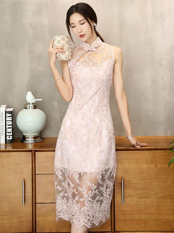 Pink Lace Embroidered Long Cheongsam