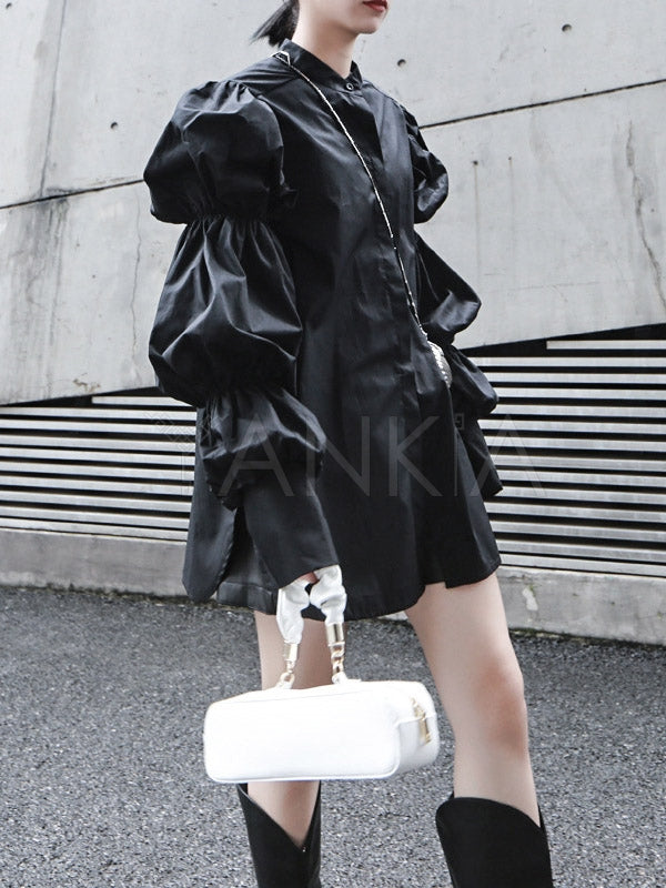 Vintage Layered Puff Sleeve Long Shirt