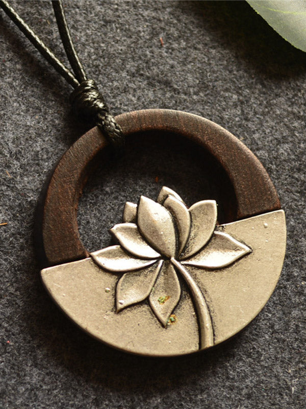 Vintage Ethnic Style Lotus Long Necklace