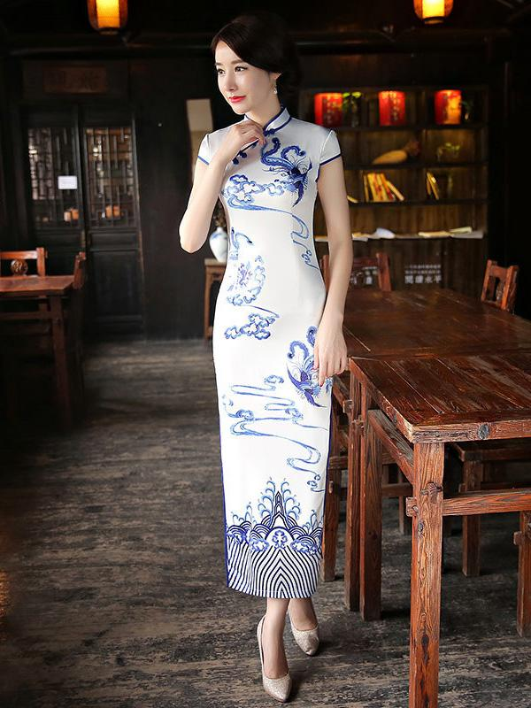 White Split-side Printed Long Cheongsam