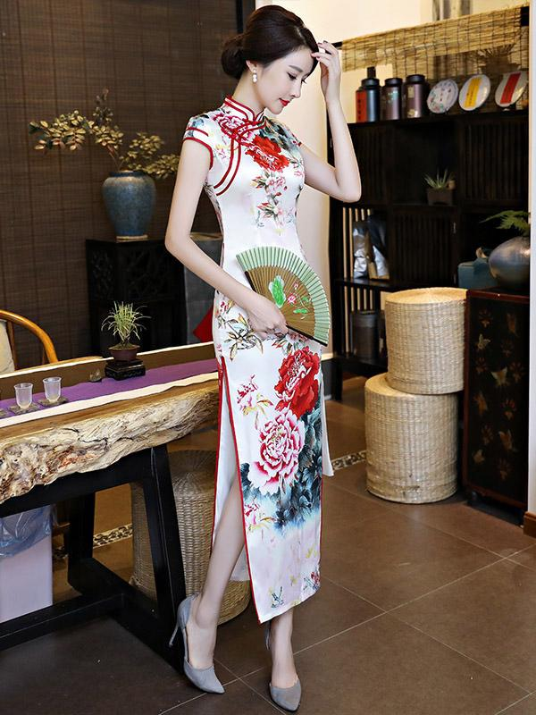 Elegant White Peony Print Long Cheongsam Dress