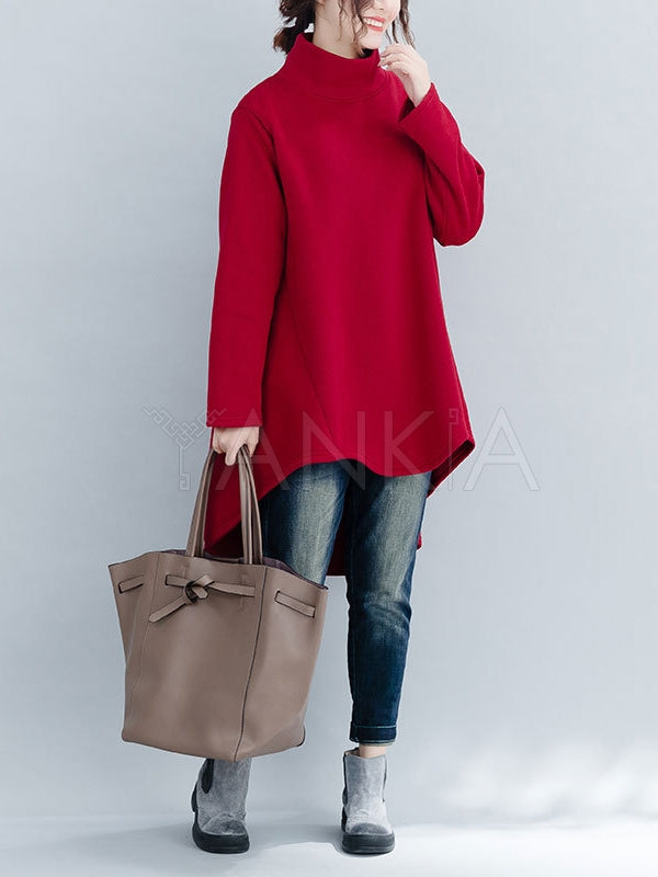 Loose Turtleneck Cropped Sweatshirt