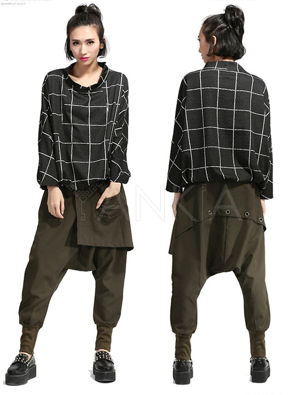 Loose Elasticity Waist False Two Harem Pants