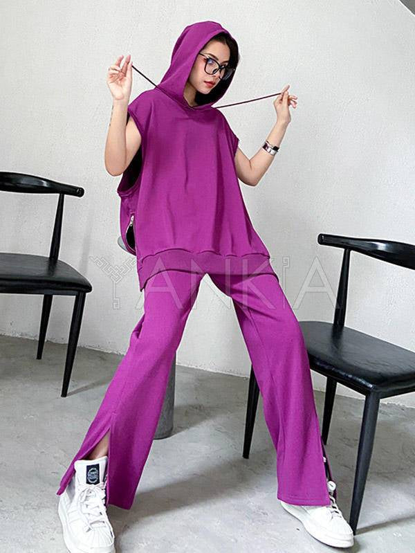 Two Pieces Vintage Solid Color Short Sleeve Hoodie And Pants Suits
