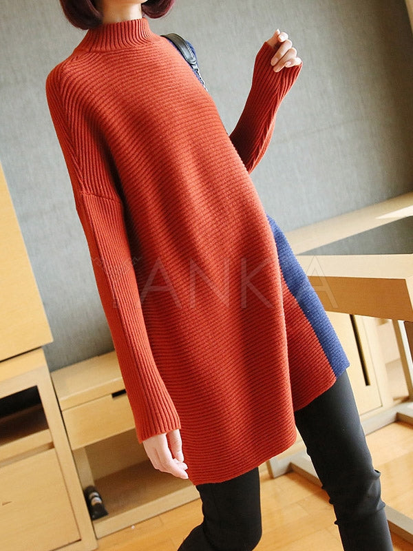 Casual Split-Joint Knitting Long Sweater