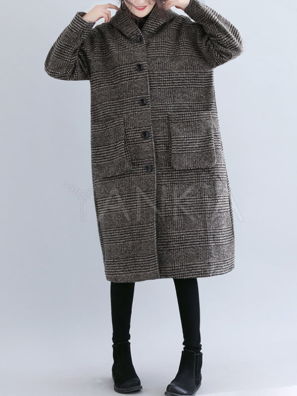 Loose Plaid Woolen Hood Coat