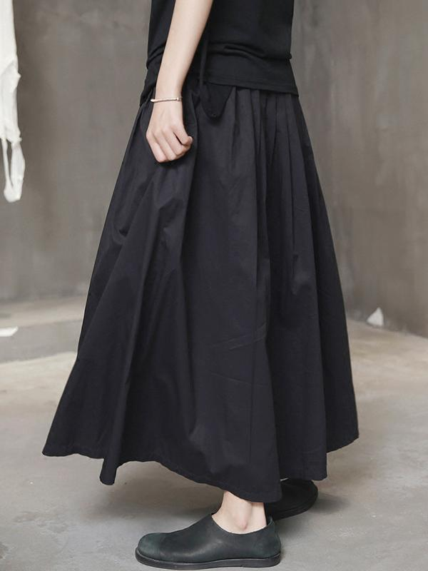 Simple Black Light Loose Skirt Dress