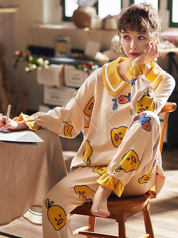 Two Pieces Cartoon Print Comfort Pajamas Suit