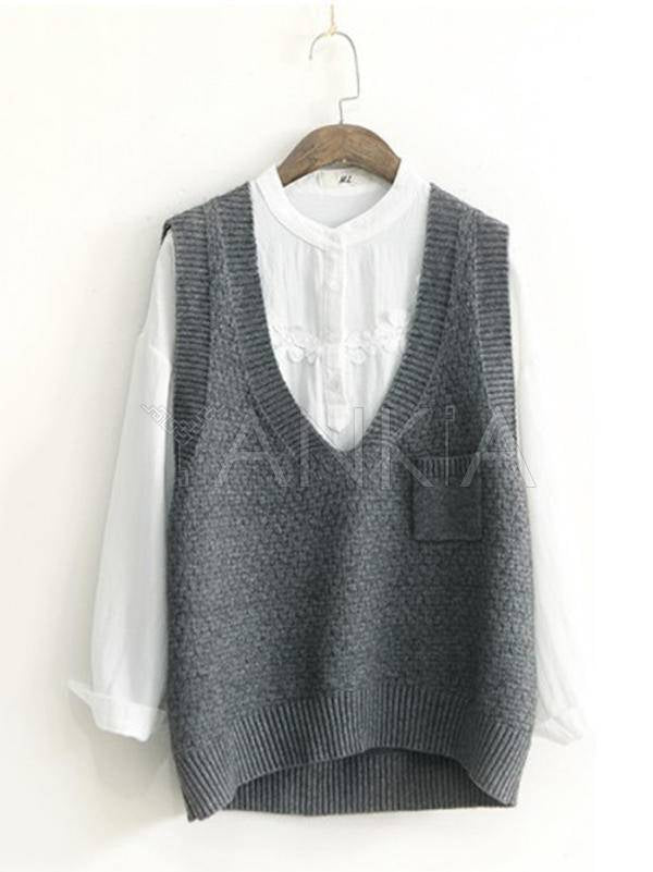 Loose Solid Color V-Neck Sleeveless Sweater