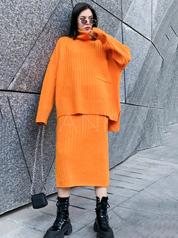 Two-Pieces Solid Color Turtleneck Sweater Set