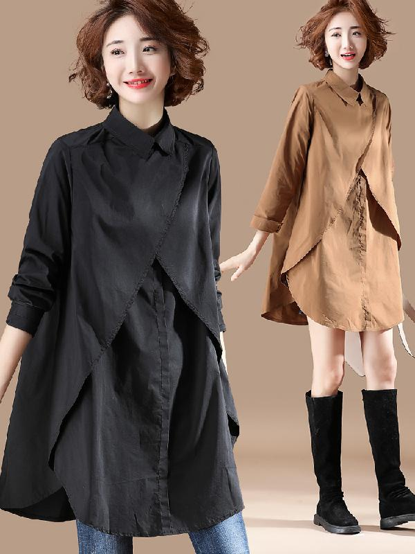 Long Sleeves Cropped Solid Shirt Dress