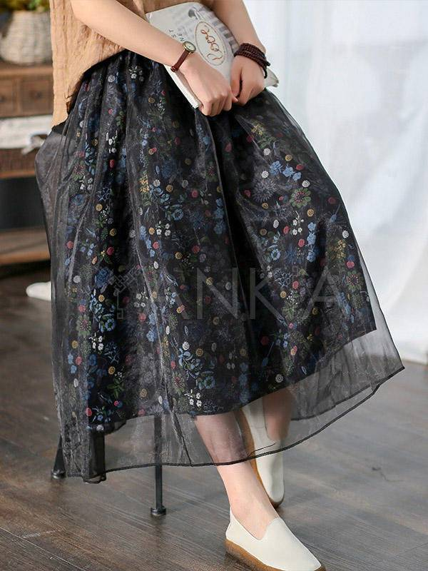 Vintage Floral A-Line Bubble Gauze Splicing Skirt