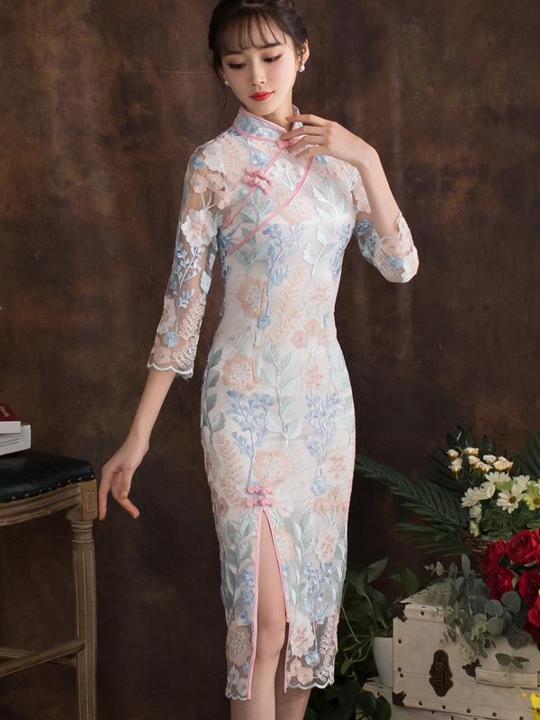 Elegant Lace Cheongsam Midi Dress