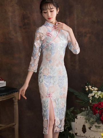 Elegant Slim Split-joint Long Cheongsam