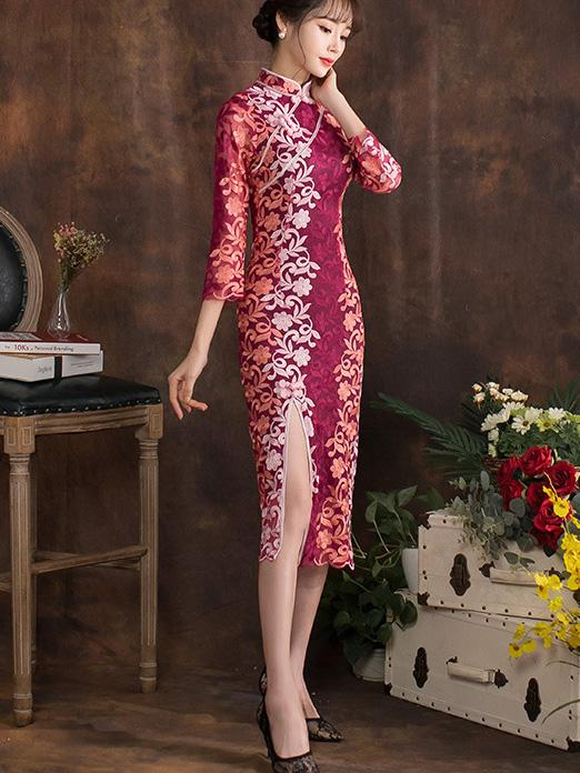 Lace Half Sleeves Cheongsam Midi Dress