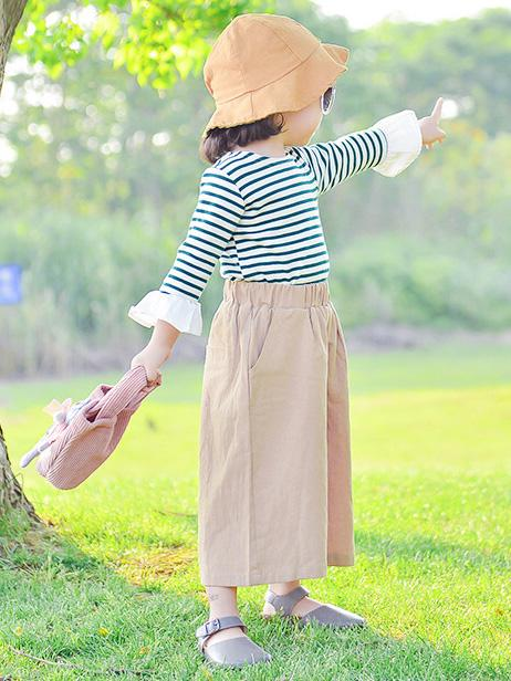Khaki Ramie Cotton Linen Wide Leg Kids Pants