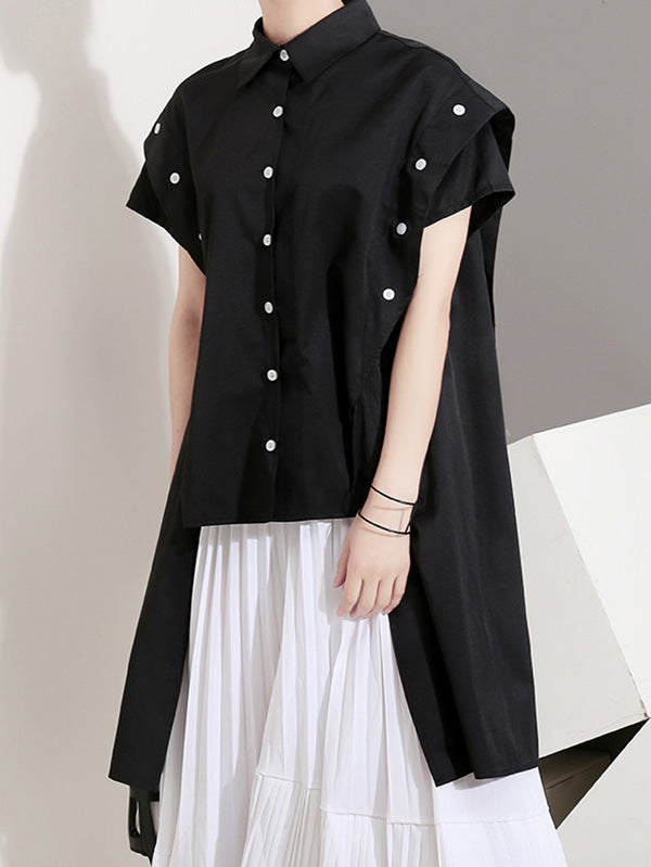 Loose Split-side Cropped Blouse