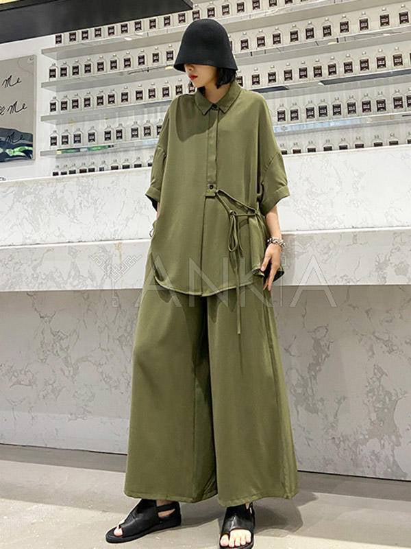 Two-Pieces Vintage Solid Color T-Shirt And Wide-Leg Pants Suits