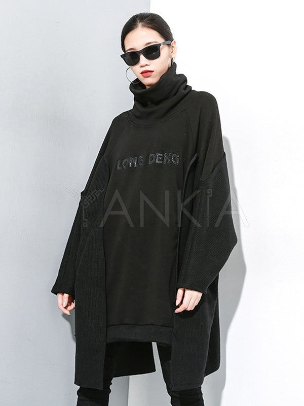 Stitching Velvet Irregular High-Neck Sweatshirt