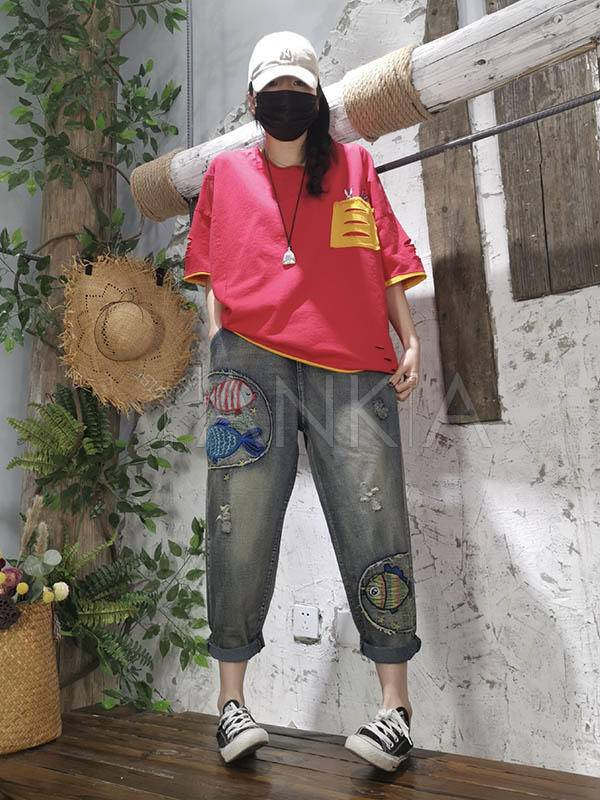 Vintage Loose Embroidered Cartoon Fish Patchwork Jean Pants