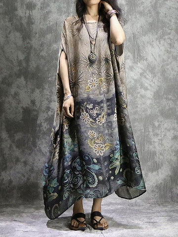 Loose Solid Hollow Flower Embroidered Maxi Dresses
