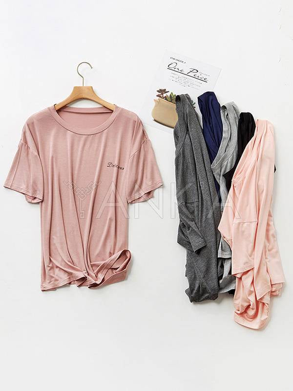 Loose Solid Color Comfortable Short-Sleeved Pajamas