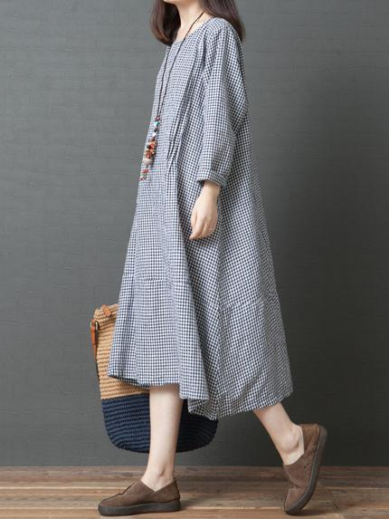 Loose Plaid Round-neck Long Sleeves Dress