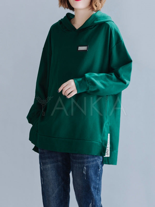 Loose Plain Split-Side Casual Hoodie