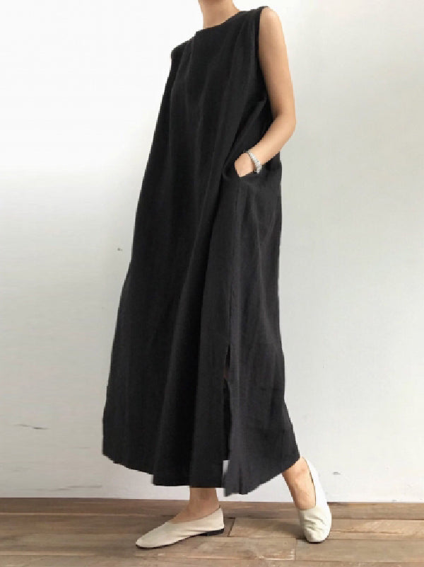 Simple Loose Split-side Sleeveless Long Dress