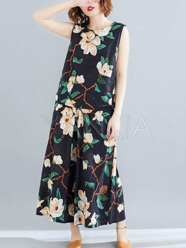 Two-Pieces Printed Sleeveless Top And Bottom Suits