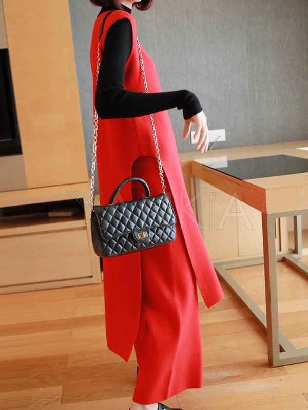 Casual Knitting Sleeveless 2-Pieces Suits