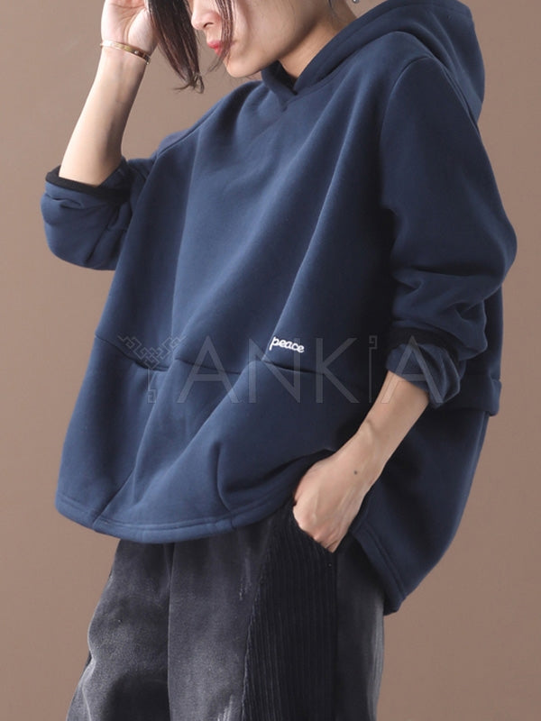 Loose Embroidered Pocket Velvet Hoodie
