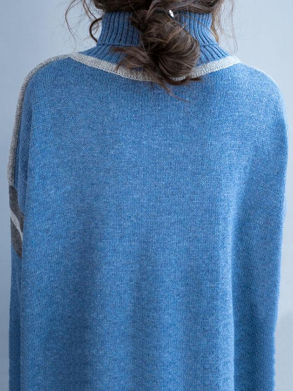 Blue High-neck Knitting Soft Sweater Dress