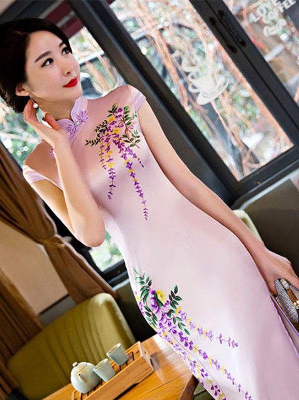 Elegant Custom Fit Embroidered Long Cheongsam