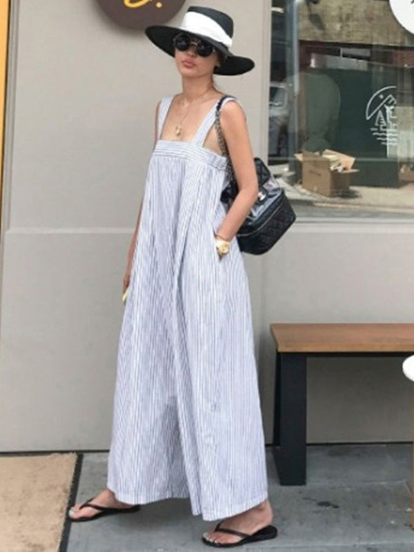 Casual Striped Wide-leg Jumpsuit
