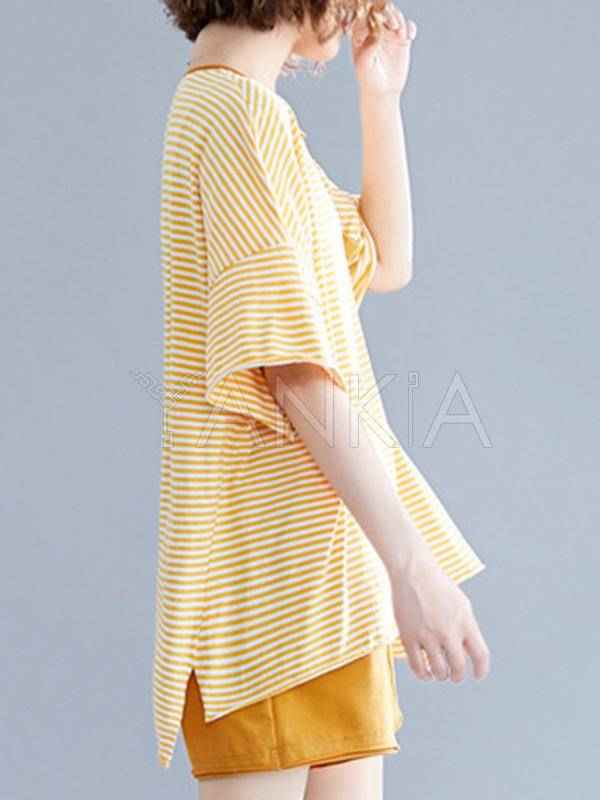 Two-Pieces Striped Short-Sleeved And Shorts Suit