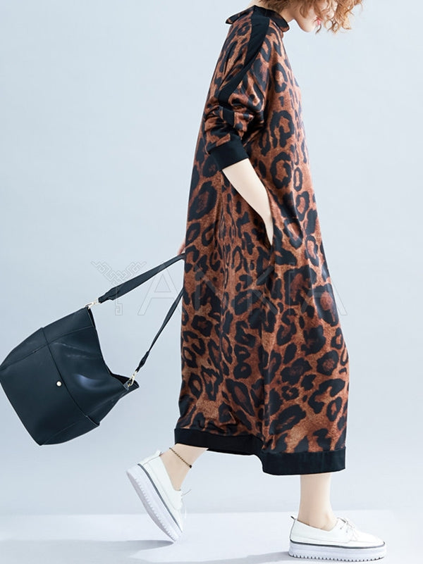 Leopard Print Loose Long Dress