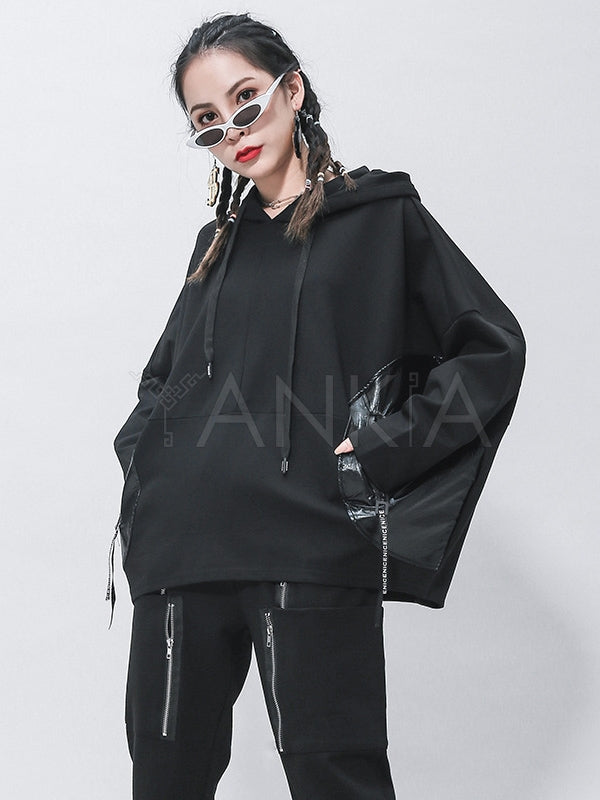 Loose Black Split-Joint Hoodies