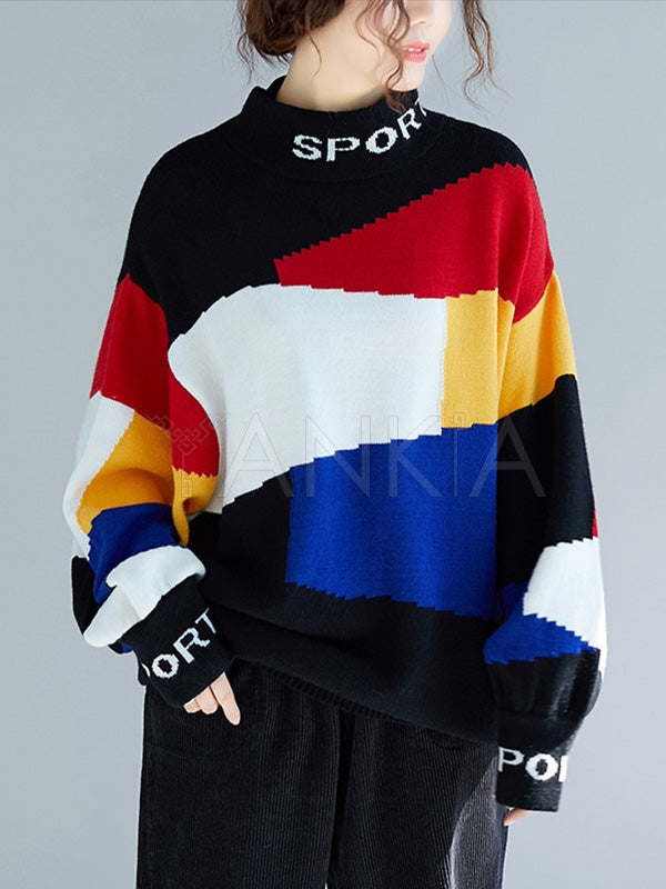 Loose Contrast Color High-Neck Knitting Sweater