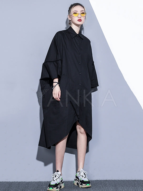Loose Cropped Splicing Shirt Midi Dress