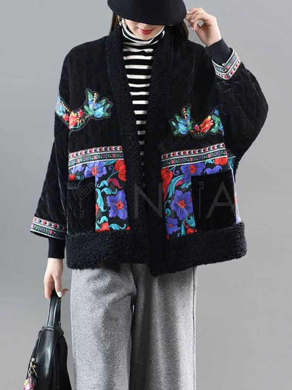 National Style Embroidery Split-Joint Velvet Coat