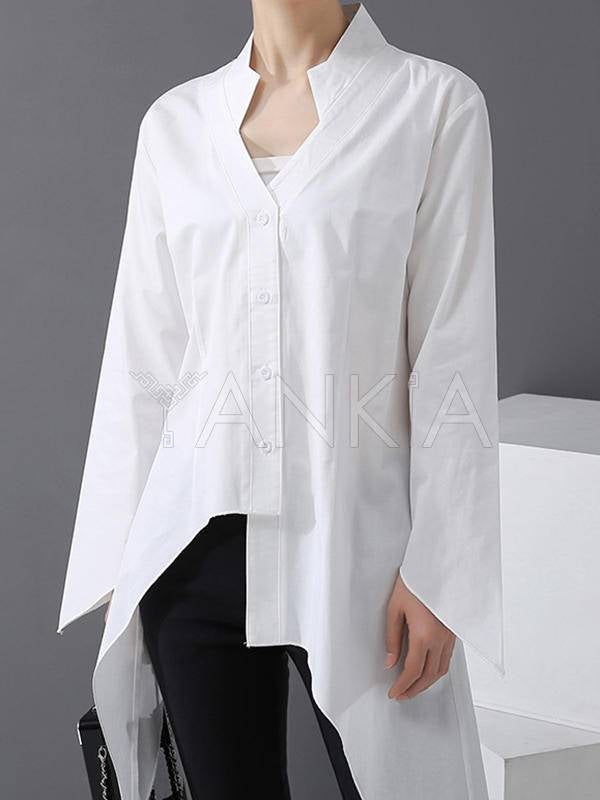 Stylish Cropped Solid Color V-Neck Shirt