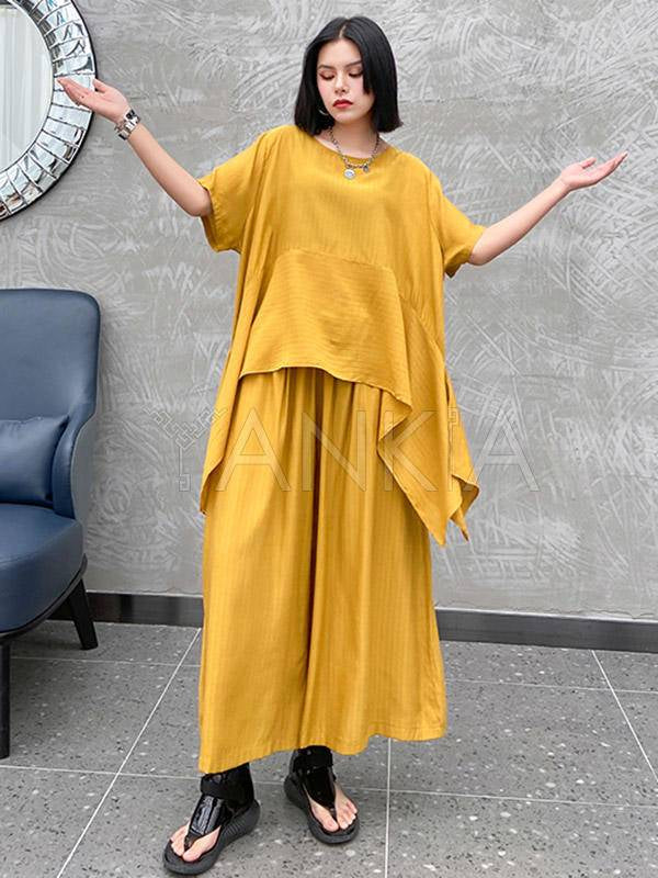Urban Solid Round-Neck T-Shirt&Wide Leg Pants Suits