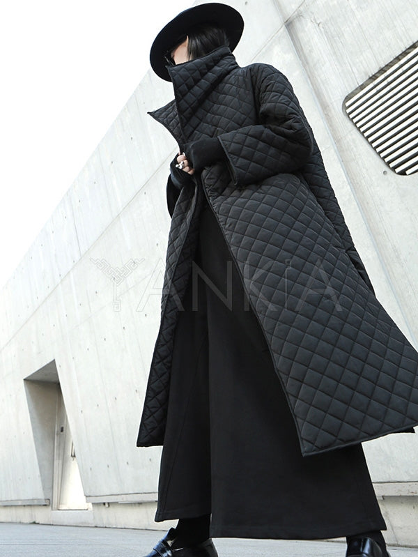 Black Rhombic Split-Side High Collar Long Coat
