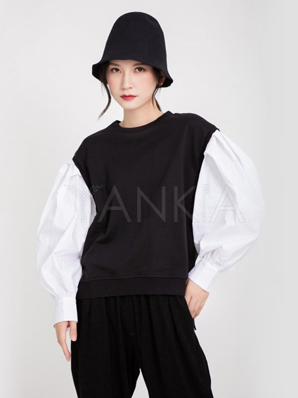 Loose Lantern Sleeves Split-joint Sweatshirt