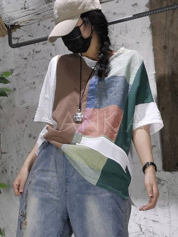 Vintage Contrast Color Splicing Embroidered T-Shirt