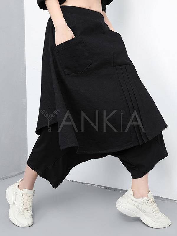 Black Loose Cropped Stitching False-Two Pants