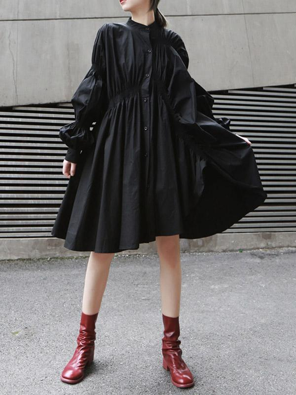 Loose Original Designed Irregular Puff Shirt Dress